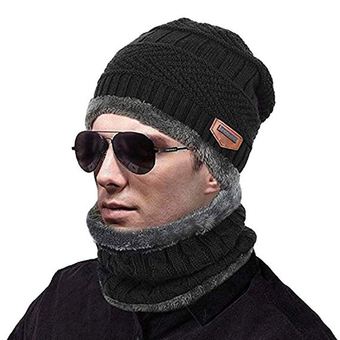 Jelinda Stretchy Knit Beanie Warm Winter Hat Set Skully Cap Soft Scarf Set