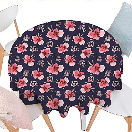 Watercolor Dinning Tabletop DecorNature Inspired Composition with Pink Garden Flora Vintage Artistic Petals Dust-Proof Round Tablecloth D60 Navy Blue ()
