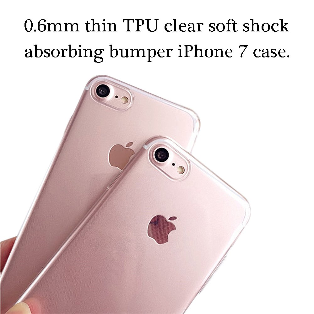 Onepicebest Floral Case Clear Design Thin TPU Bumper Soft Clear Slim Transparent Cover Shock Absorption Scratch Resistant Protective Case for Girl Apple iPhone 7 (Pink Flower Tree)