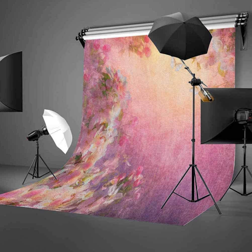 7x10 FT Pastel Vinyl Photography Background Backdrops,Soft Toned Spring Floral Motif with Peony Blossoms Petals Natural Image Background Newborn Baby Portrait Photo Studio Photobooth Props
