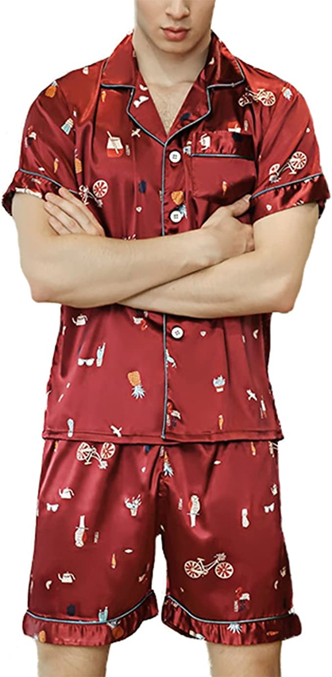 Asskyus Pantalones y Pijamas de Pijama de satén para Hombre ...