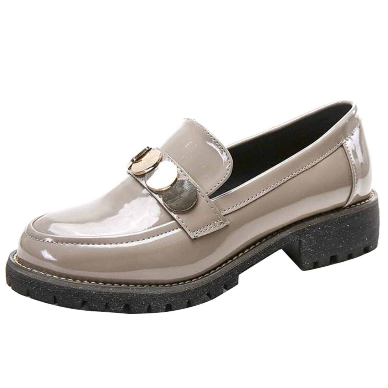 Fuxitoggo Damen Runde Toe Block-Heel Slip-On Metall Loafers Loafers Loafers (Farbe   Aprikose Größe   7 UK) ee8303