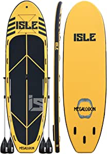"""ISLE Megalodon   12' & 15' Inflatable Stand Up Paddle Board   8"""" Thick iSUP and Bundle Accessory Pack   Durable and Lightweight   Stable Wide Stance   Up to 1,050 lbs Capacity"""