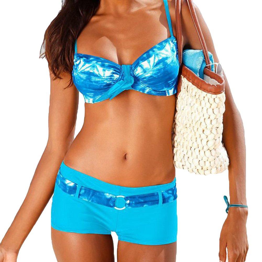 Damen Bademode Bikini-Sets Push-up Gepolstert Drucken Mit Shorts Pants hibote
