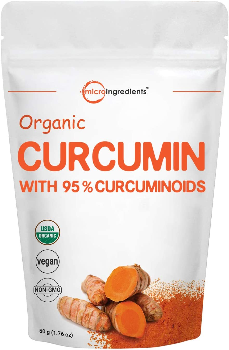 Organic Pure Curcumin Powder Natural Turmeric Extract and Turmeric Supplements , Rich in Antioxidants Immune Vitamin, Best Supplements for Joint Immune System Support, 50 Gram, Vegan Friendly.