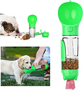 Dog Water Bottle for Outdoor Walking, Hiking, Travel, 4-in-1 Multi-Function Leak-Proof Portable Pet Water Dispenser Detachable Design Combo Drinking and Eating Cup Food Grade BPA-Free 10OZ (300ML)