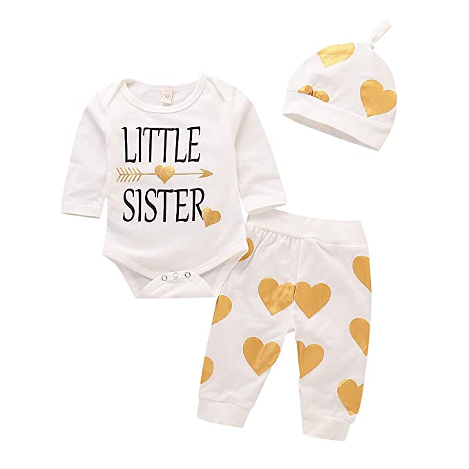 3ae08e6c967a Amazon.com  Infant Baby Girls Little Sister Arrow Romper Long Sleeves  Bodysuit Heart Printed Harem Legging Pants Hat Outfits Set 3pcs  Clothing