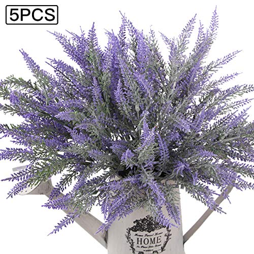 Flocked Lavender Bouquet Artificial Flowers for Home Decoration, Wedding Decor ()