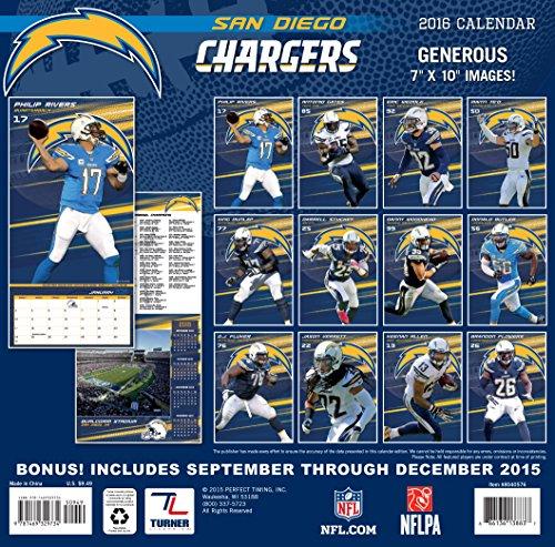 San Diego Chargers Headquarters: Turner San Diego Chargers 2016 Mini Wall Calendar