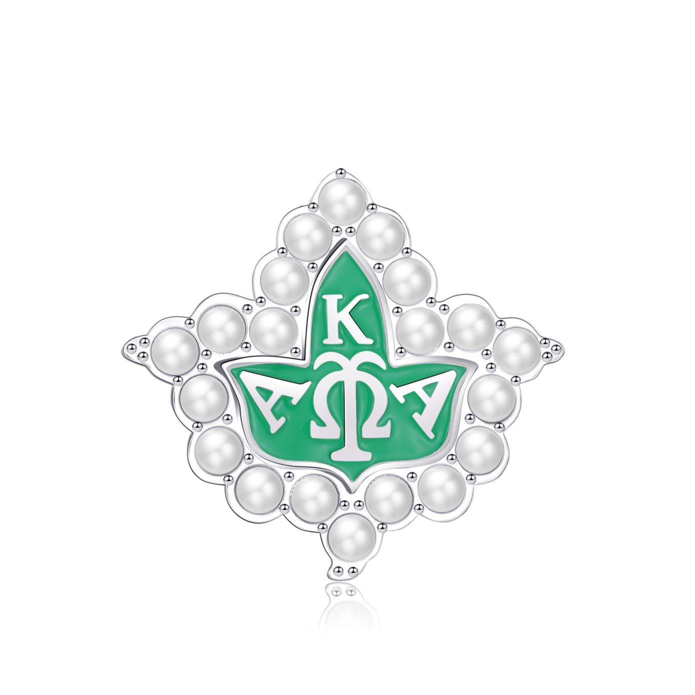 KINGSIN AKA Sorority Gifts, Vintage Pearl Brooch for Women Alpha Kappa Alpha Paraphernalia Leaf Pins