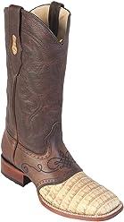 Genuine Crocodile Belly Honey Wide Square Toe Los Altos Mens Western Cowboy Boot 821G8251