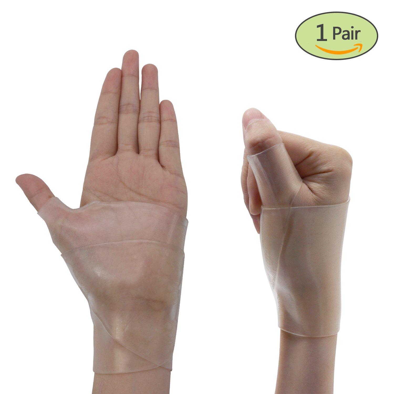 Wrist Brace Carpal Tunnel Gel Wrist Thumb Support Braces Stretchable Washable Thumb Wrist Support Glove for Tenosynovitis, Typing, Wrist Thumb Pain, Arthritis, Rheumatism (1 Pair) by Healthy Harbor (Image #1)