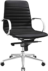 Modway Groove Ribbed Back Faux Leather Office Chair in Black