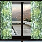 Cheap WOZO Watercolor Palm Leaf Window Sheer Curtain Panels 110″x55″, 2-Piece Tropical Palm Tree Modern Window Treatment Panel Collection for Living Dining Room Home Decoration