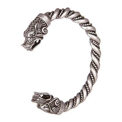 Amazon.com  QIANJI Viking Wolf Bracelet Fenrir Wolf Bracelet Bangle Twisted  Wire Pagan Bracelet (Antique Silver)  Jewelry 4c5c9800b