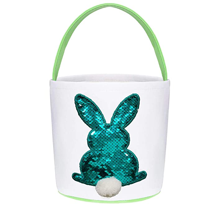 Poptrend Easter Basket Bags,Easter Eggs/Gift Baskets for Kids,Bunny Tote Bag Bucket for Easter Eggs,Toys, Candy,Gifts (Green Paillette) best Easter baskets