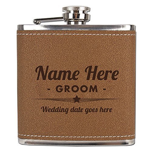 6 Ounce Steel Leather (Personalized Laser-Engraved Stainless Steel Leather-Wrapped Flask for Groom's Wedding Gift - 6oz. Monogram Liquor Flask)