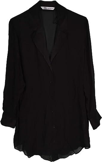 Zara Women 4886/273/800 - Camisa con Reverso Satinado Negro ...