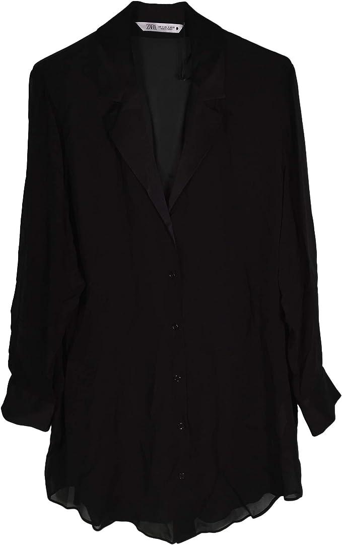 Zara Women 4886/273/800 - Camisa con Reverso Satinado Negro XS: Amazon.es: Ropa y accesorios