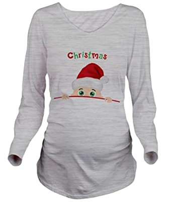 comfy womens christmas long sleeve fashion maternity tees shirt grey s