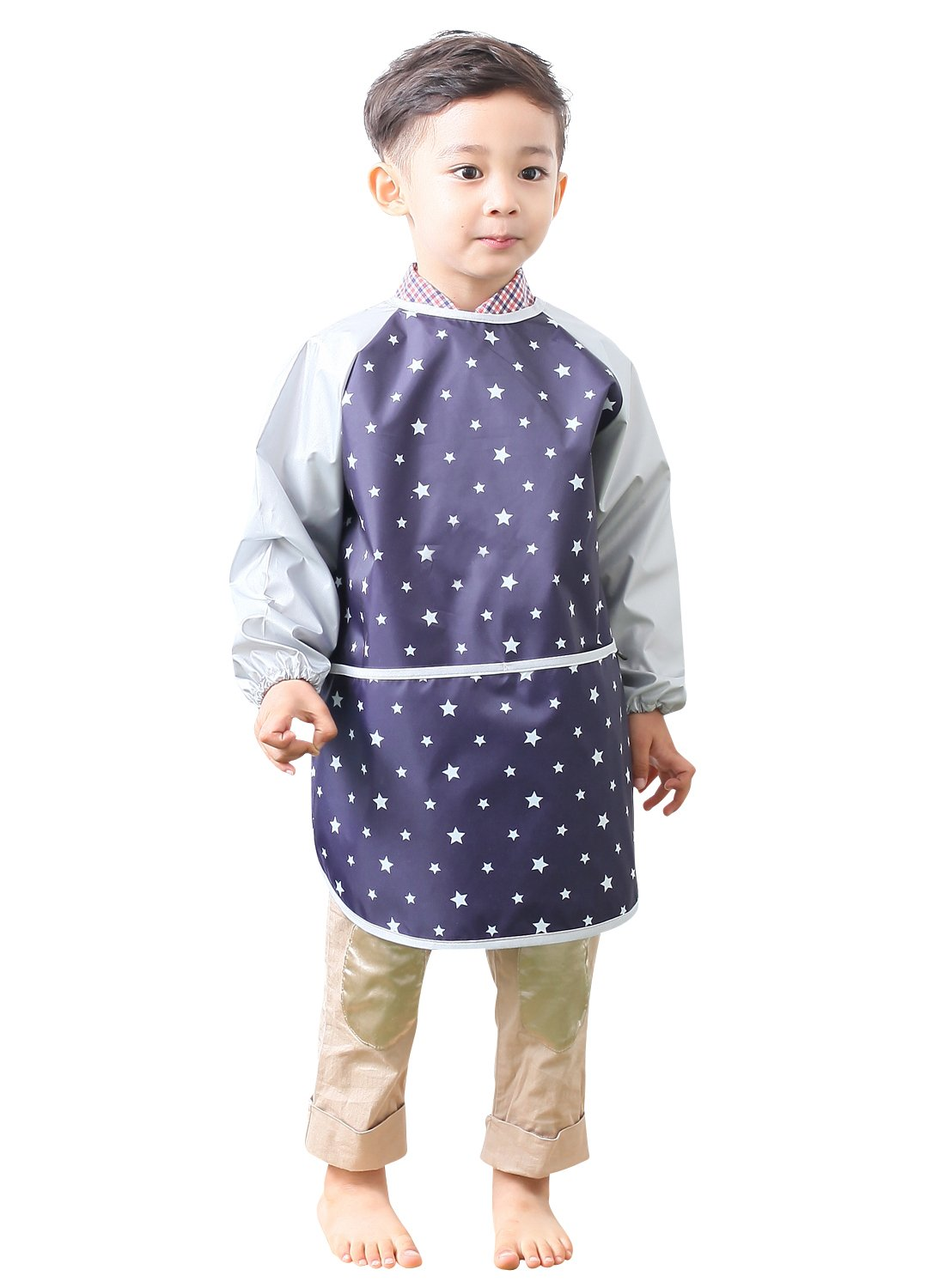 Plie Kids Art Smocks, Children Waterproof Artist Painting Aprons Long Sleeve with Pockets, Sliver Star (06-S)