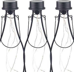 Hortusol Hanging Solar Bottle Lights Kit 10 LED Waterproof String Lights for Garden Décor, 3 Pack