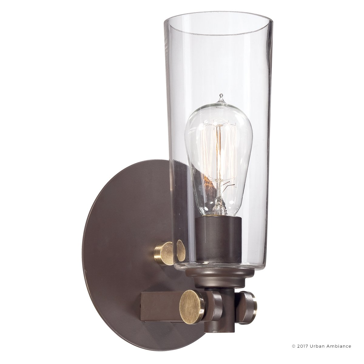 Luxury Vintage Indoor Wall Light, Small Size: 11''H x 6.5''W, with Casual Style Elements, Retro Design, Elegant Estate Bronze Finish and Clear Glass, Includes Edison Bulb, UQL2690 by Urban Ambiance by Urban Ambiance (Image #1)