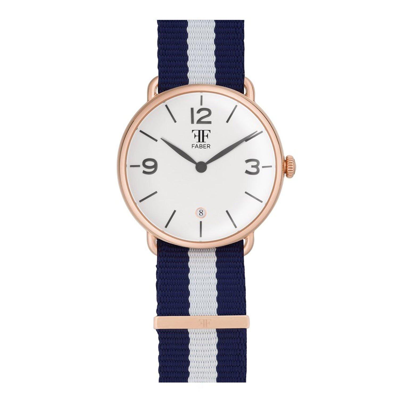 Faber No.2 Series F1009RG Armbanduhr RosÉgold Unisex Nato-Strap Blau Weiss