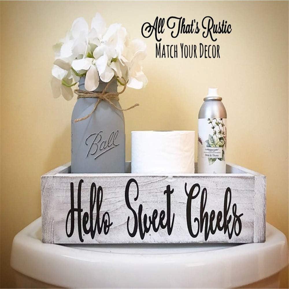 Nadieou Hello Sweet Cheeks Bathroom Decor Box Farmhouse Wooden Bathroom Box Wooden Rustic Toilet Paper Holder Funny Home Decor Box for Bathroom Kitchen Table and Counter