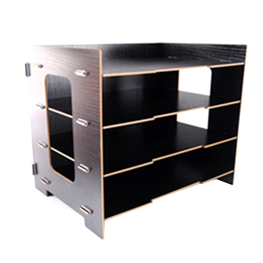 Storage Rack, FenglinTech Four-layer Tabletop Wood Storage Rack Durable Office Sill Simple Desktop Organizer Shelf for Books Documents - (Black)