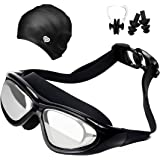Swimming Goggles, No Leaking, Anti-Fog, UV Protection Swimming Glasses with Swimming cap, Ear Plugs, Nose Clip and Protective Case, Adjustable Strap Comfortable Fit For Men, Women, Youth, made by You and Me