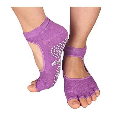 Panda Superstore Slip Yoga Toe Socks - Toe Socks Ladies Thick Socks Yoga-Toe Halter-Purple