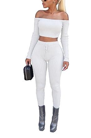 477c367b0790da Beauty Go Femme Manches Longues Crop Top Bustier en Épaule Nue et Pantalon  Taille Haute Élastique Casual pour Autome
