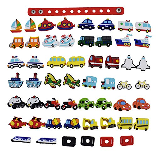 Cars Wristbands (XHAOYEAHX 50pcs Transports Airplane Boat Vechile Cars Shoes Charms Fits for Croc Shoes & Wristband Bracelet + 4Pcs Shoe Lace Adapter + 1Pcs 7.08in Silicone Bracelet Wristband Party Gifts)