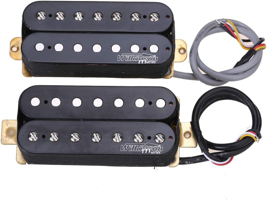 Wilkinson Serie M WOH Clásico Estilo Abierto Cerámico Pastillas Humbucker Pickups Set para 7 Cuerdas Guitarra Eléctrica, Negro