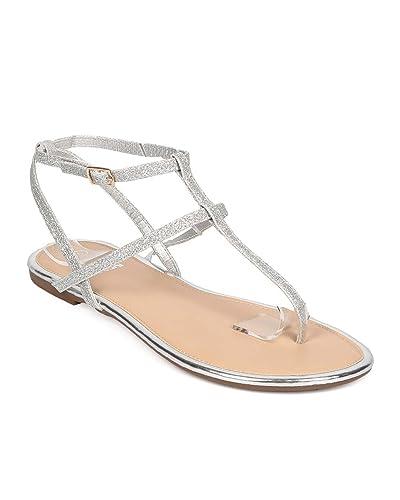 f932429812a833 Betani Women Glitter Leatherette Double T-Strap Flat Sandal EH48 - Silver  (Size