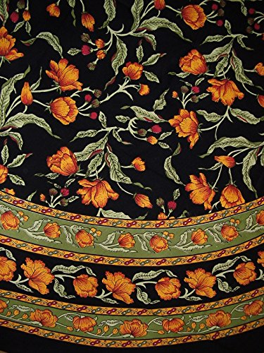 India Arts French Floral Round Cotton Tablecloth 88