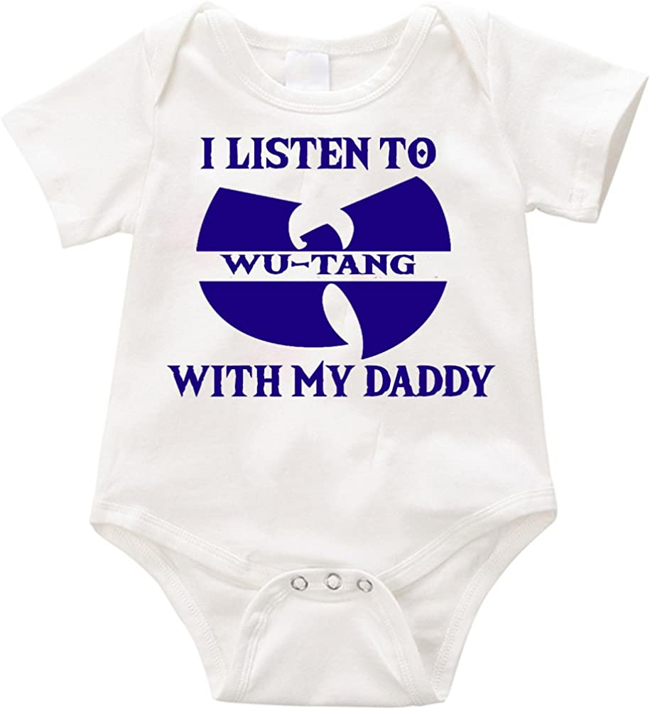 LPM I Listen to WuTang with My Daddy Onesie Unisex Funny Romper Onesie Creeper
