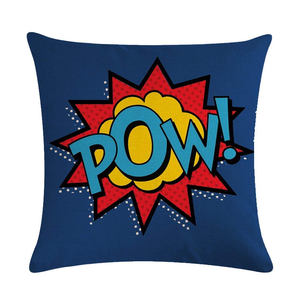 Easternproject Super Hero Quote Throw Pillow Case Cushion Cover Exclamation Pattern Decorative Square 18x18 Inch Pillowcase Best Gift (Pow!)