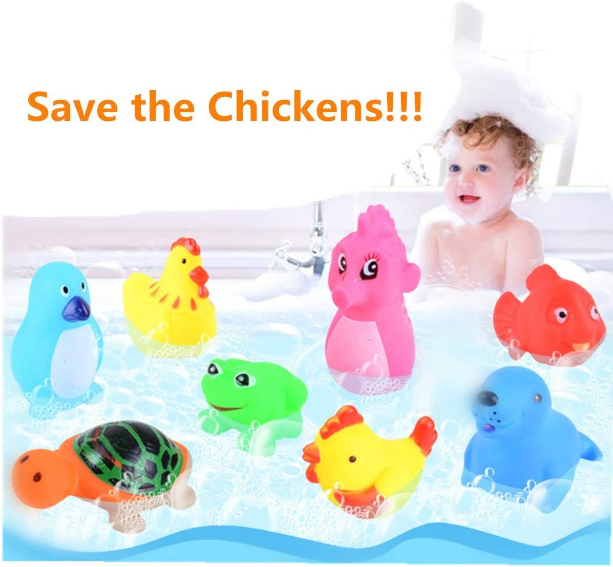 Lamayal 18pcs Floating Fish Animals Net with Toddler Bath Toy Organizer Pool for