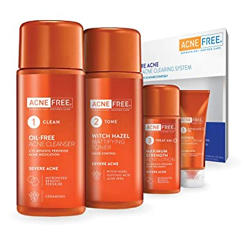 AcneFree 4 Step Severe Acne Treatment Kit - Benzoyl Peroxide Face Wash 16524b604a2
