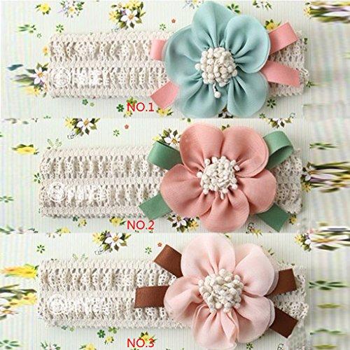 QHGstore Baby-Stretchy Stirnband-große Blumen-Spitze-Baby-Haar-Band-Haar-Zusätze schwarz Blau