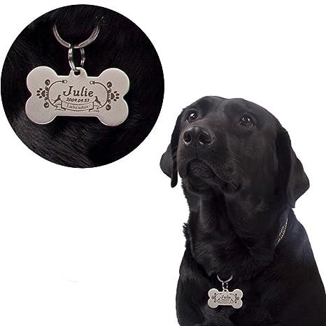 HOTCHILI Collar para Mascota Personalizado, Medalla para Perro y Gato Personalizada, Placa Identificativa de Acero con Grabado Láser, Anti pérdida, ...