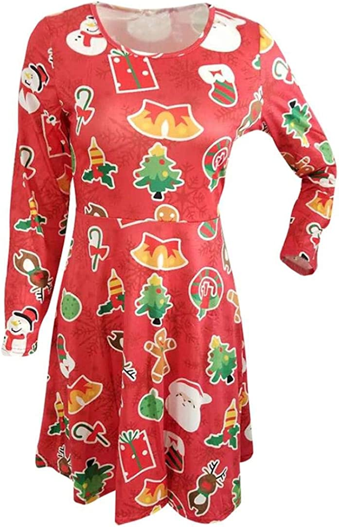 Forthery Womens Santa Christmas Printed Casual Flare Swing Dress
