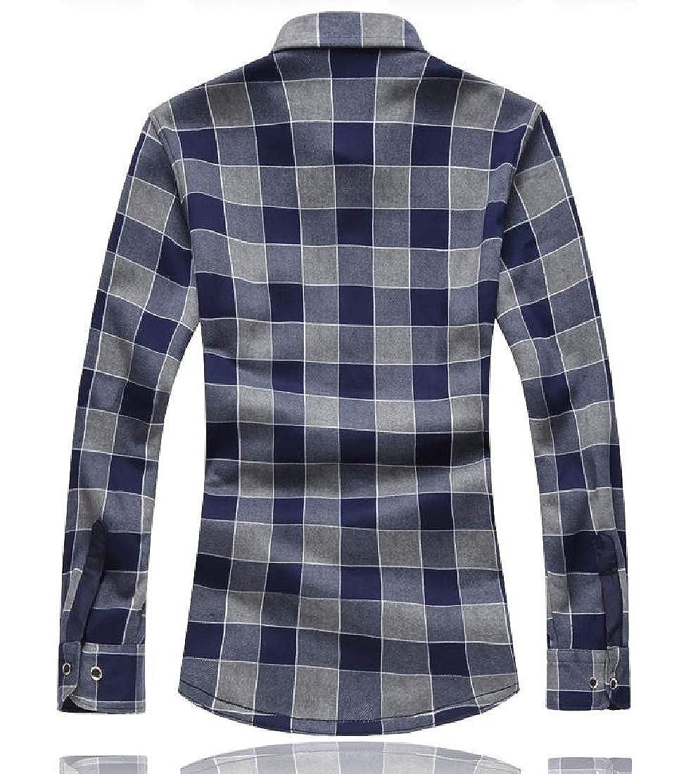 YUNY Men Plus Size Plaid Casual Tops Plus Velvet Button Down Dress Shirts 2 4XL