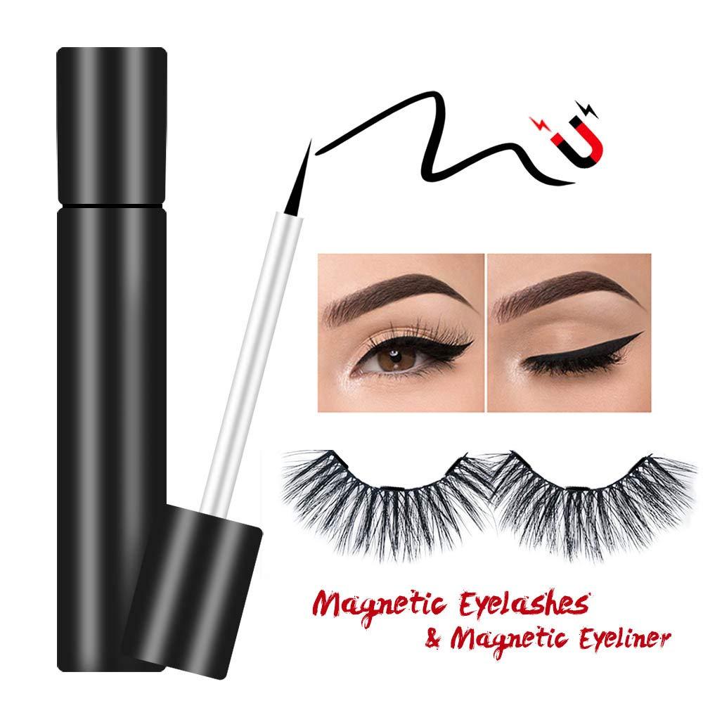 Suntee Magnetic Eyeliner with Magnetic False Eyelashes Set, Waterproof/Smudge Proof/Reusable Ultra Thin Magnetic Eyelashes, Natural Look No Glue False Lashes