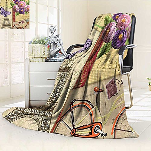 - Digital Printing Blanket French Landmark Postcards with Striped Backdrop Art Print Summer Quilt Comforter