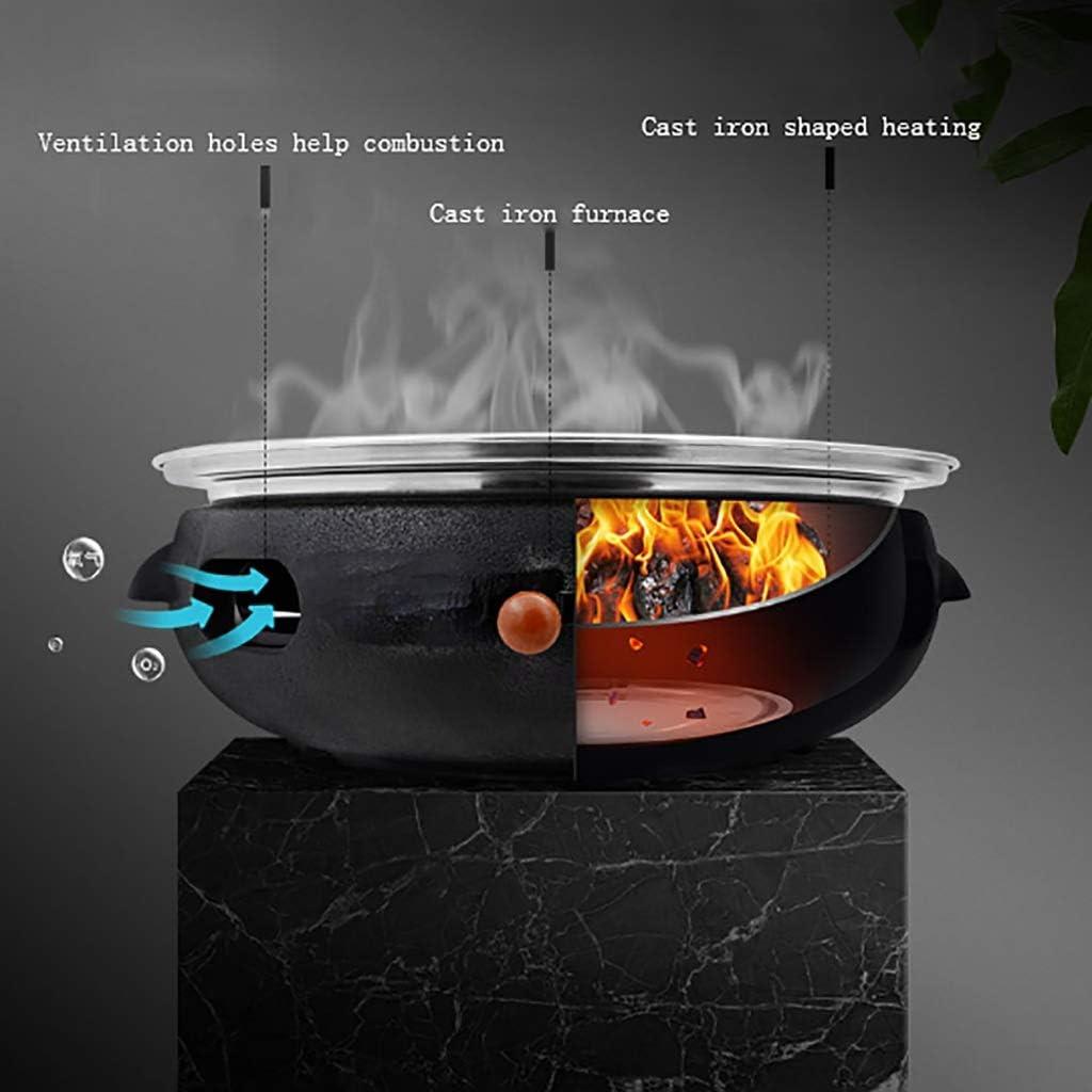 Guoguocy Grills électriques Barbecue, Plateau en Bois isolé, coréen ménages Barbecue au Charbon, en Fonte Four, intérieur, extérieur 3 Styles (Color : C) C