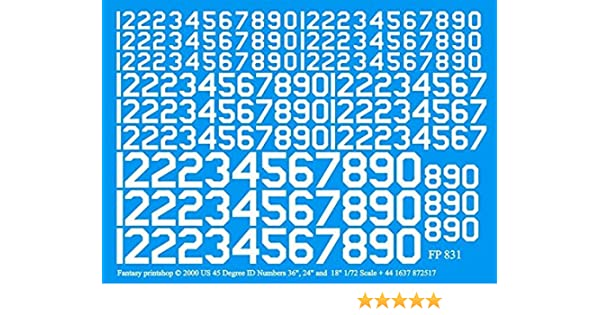 "Fantasy Printshop Decals 1//72 YELLOW U.S 45 DEGREE ID NUMBERS 36/"" 24/"" /& 18/"""