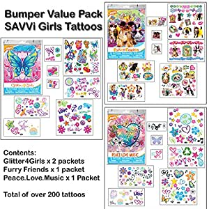 Bumper Pack of Girls Temporary Tattoos (200 tattoos in total)
